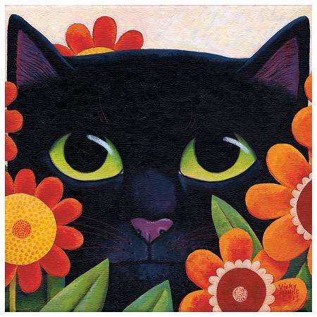 Black Cat and Flowers 2